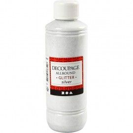 Barniz de decoupage, plata, brillante, 250ml