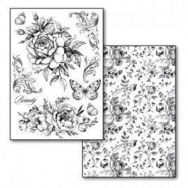 Transfer Paper A4 size B/W - 2 sheets pack Roses and Butterflies