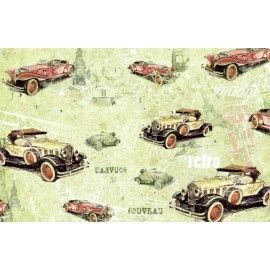 Papel entelado. PFY. Retro Cars. 100 x 70 cm